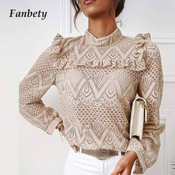 Vrouwen Elegante Lange Mouwen Kant Ruches Blouses Shirt 2020 Herfst Casual O-hals Trui Tops Office Lady Sexy Hollow Out Blusa