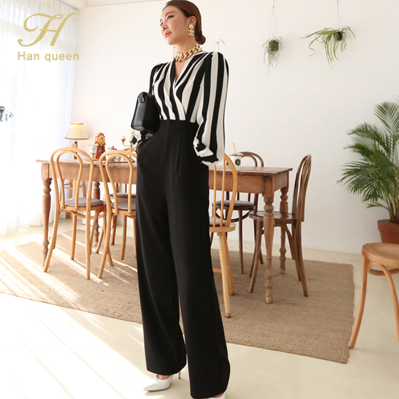 H Han Queen 2020 Autumn Korean Simple OL Stripe Jumpsuits Women V-neck Belted Wide Legs Long Romper Formal Work Wear Playsuits