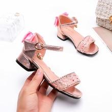 цена на ULKNN Girls Chunky-Heel Sandals 2020 New Princess Shoes Export High-Heel Middle And Large Children Sandals