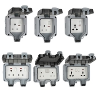 UK/EU Plug Electrical Wall Socket Outdoor Waterproof Dust proof Power Outlet 23GA