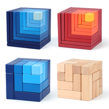 Newest Wooden Baby toy Cube Spatial thinking Puzzle Building Educatioanl wooden toy Familay Game for Children