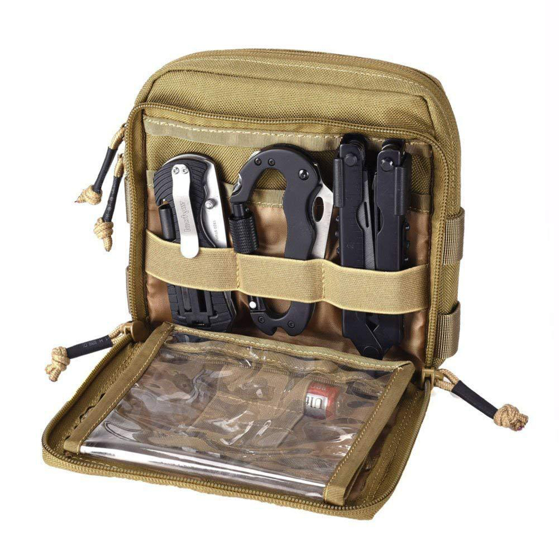 Tactical Gear Utility Map Admin Pouch EDC Tool Molle Bag Organizer For Molle System - Tan