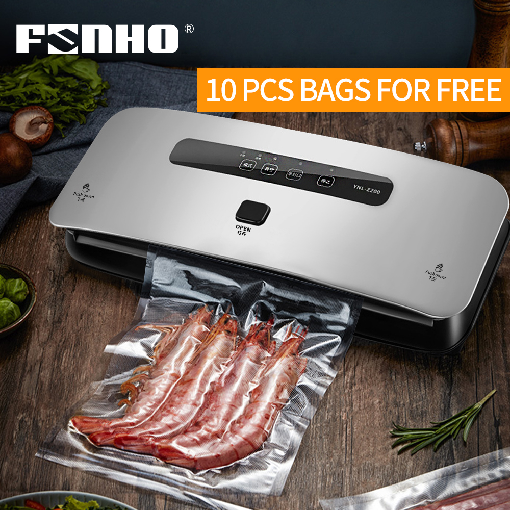 FUNHO Automatic Vacuum Sealer Sous Vide With 10 Vacuum Bags Packing Machine Vacuum Packer Package For Kitchen Keep Food Fresh