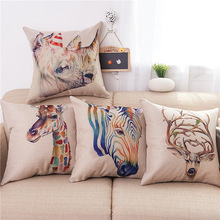 Hot Selling Animal Series Sofa Flax Short Plush Pillow Backrest Cushion Excluded Pillow Interior Pillow Case цена 2017