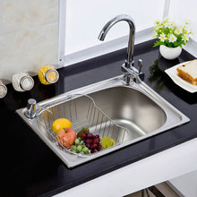 Sink the single slot thickening xiancai basins sink 304 stainless steel kitchen sink drawing the single slot meal(China)