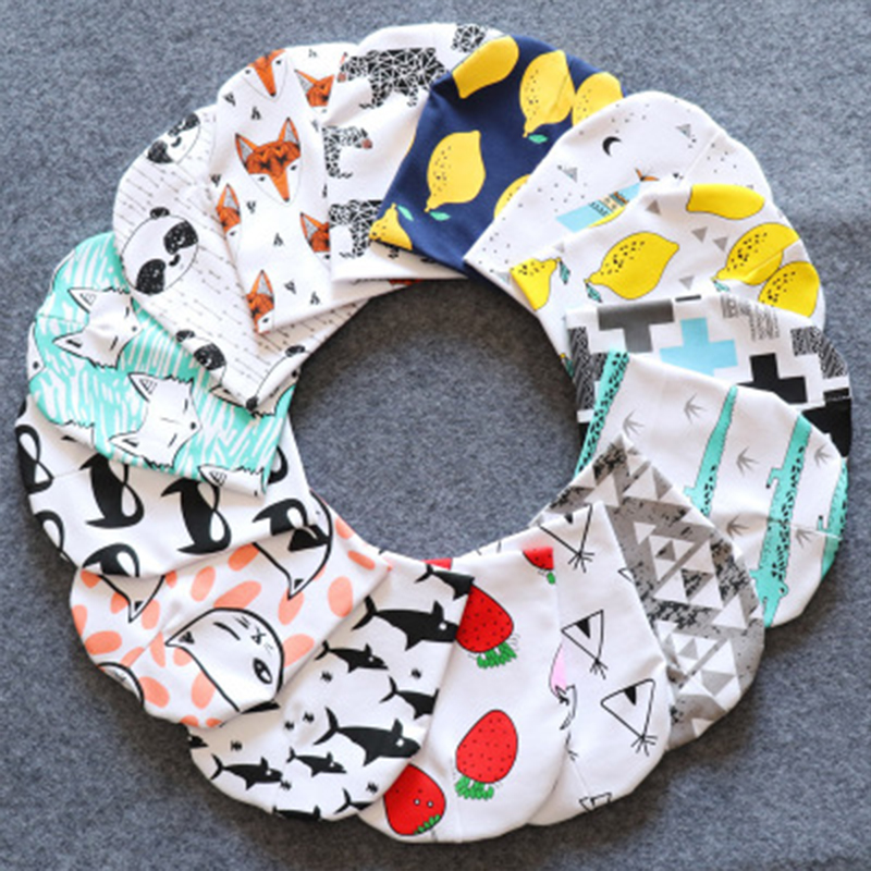 2019 Print Baby Turban Beanie Cotton Cartoon Caps Soft Hat For Girls Boys Newborn Elastic Toddler Infant Autumn Winter Headwear