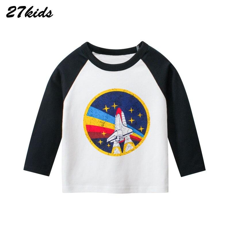 27kids 2-9Year Cartoon Plane Toddler Boys Long Sleeve T Shirts Autumn Teen Children's T-Shirt Steamship Pattern Baby Kids Top
