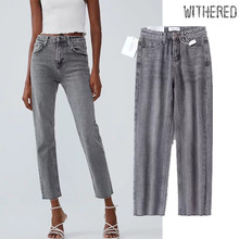 Увядшие высокие уличные винтажные джинсы для мамы женские серые джинсы с высокой талией заусенцы Обычные прямые Джинсы бойфренда для женщин большие размеры