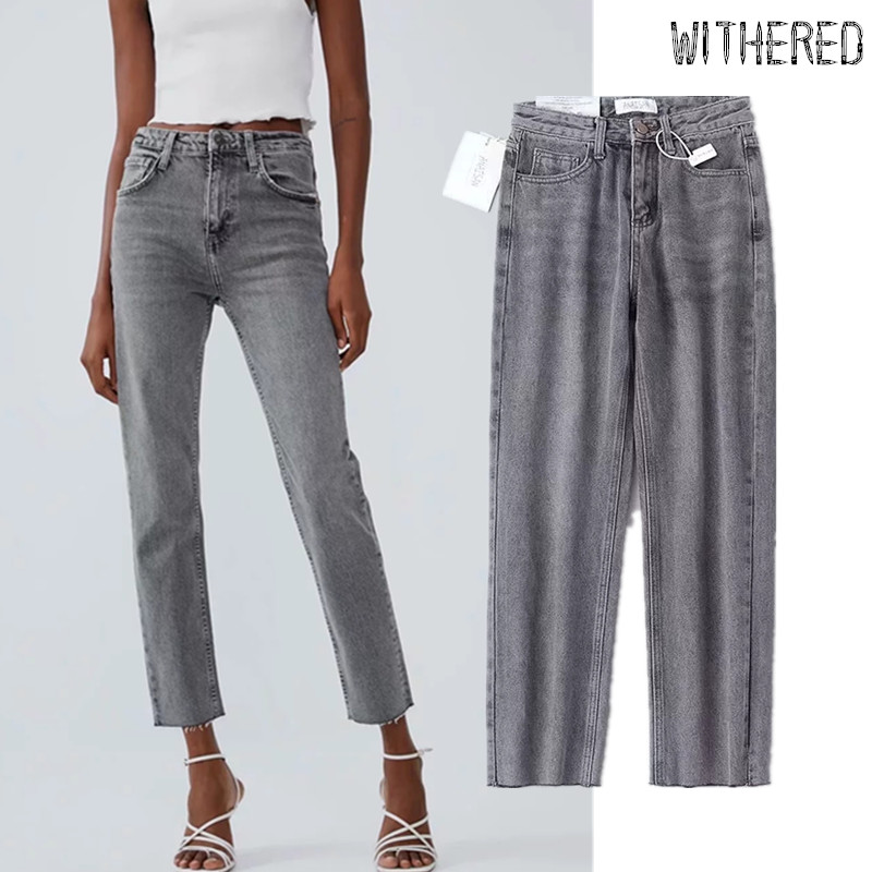 Withered High Street Vintage Mom Jeans Woman Grey High Waist Jeans Burrs Regular Straight Boyfriend Jeans For Women Plus Size