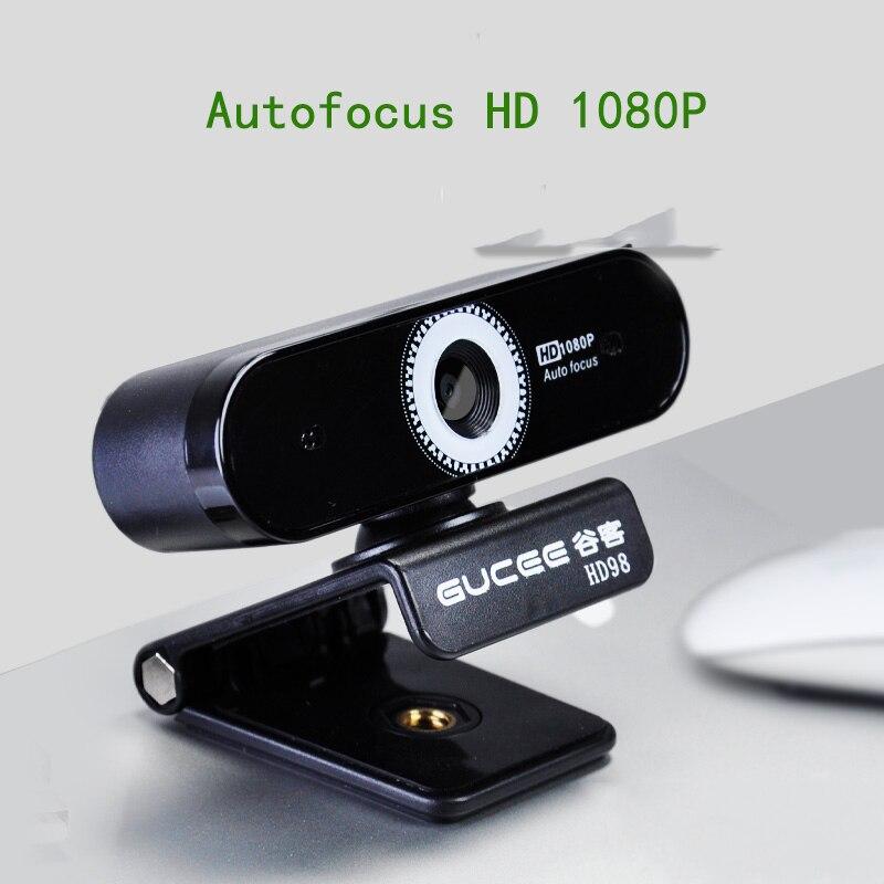 GUCEE 1080P HD Webcam Microphone intégré USB lecteur libre prise et lecture mise au point automatique pour PC, bureau ou ordinateur portable Rotation de 360 degrés