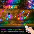 Kommerziellen Grade Dimmbare RGB String Lichter  Farbwechsel Außen String Lichter Mit Fernbedienung für Terrasse Spielplatz Park Terrasse-in Lichterketten aus Licht & Beleuchtung bei