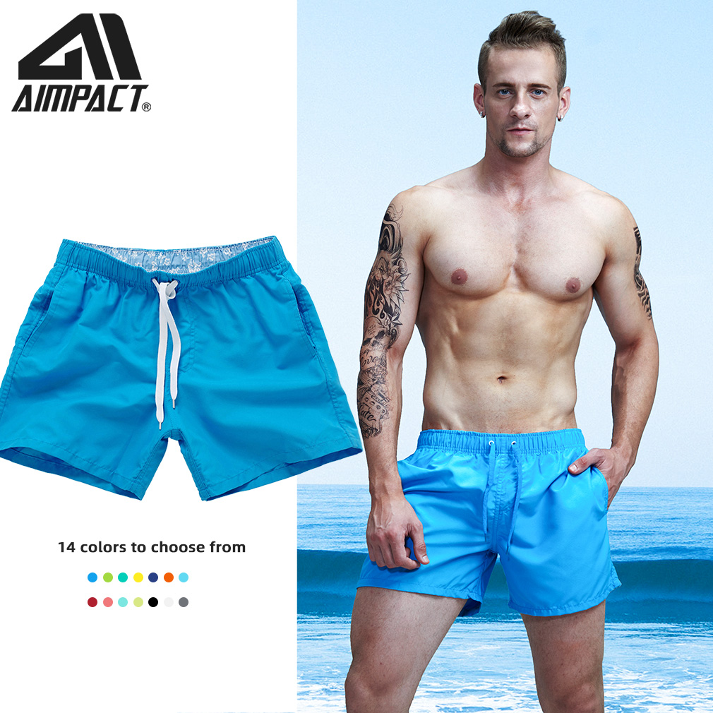 Aimpact Quick Dry Beach Shorts for Men Summer Casual Sports Briefs Beach Surf Board Shorts Swimsuit Swim Trunks Short