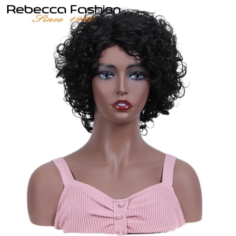 Rebecca court humide & ondulé perruques pour les femmes noires péruvien Remy lâche bouclés perruque de cheveux humains couleur en 1B DX1029 livraison gratuite