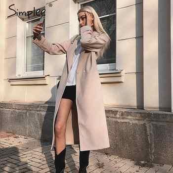 Simplee Wool blend winter tweed coat women Long sleeve elegant sash belt female outwear coat Autumn winter streetwear coat - DISCOUNT ITEM  44% OFF All Category