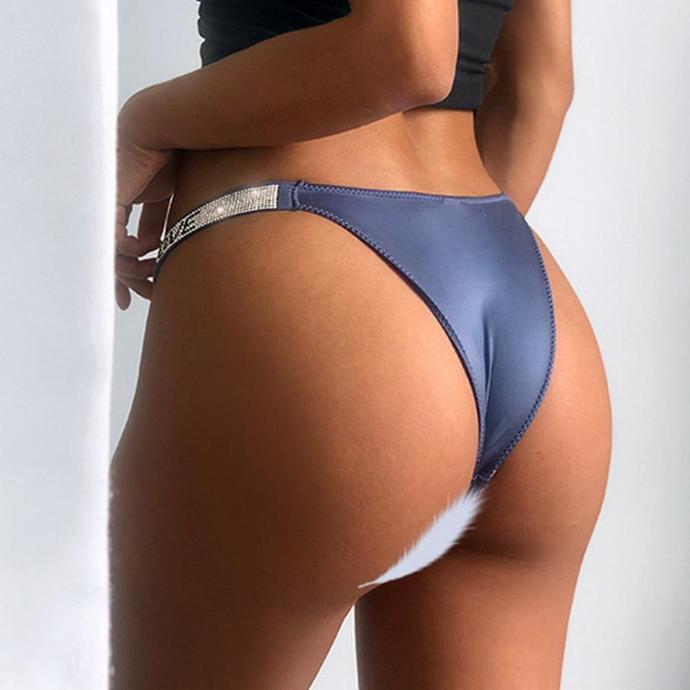 Hd247220ca3134e91914fec98e391bdebe 2021 Letter Rhinestone Sexy Underwear Fitness Sports Hip Lifting Satin Panties Thong Low Waist Seamless Briefs Tanga Lingerie