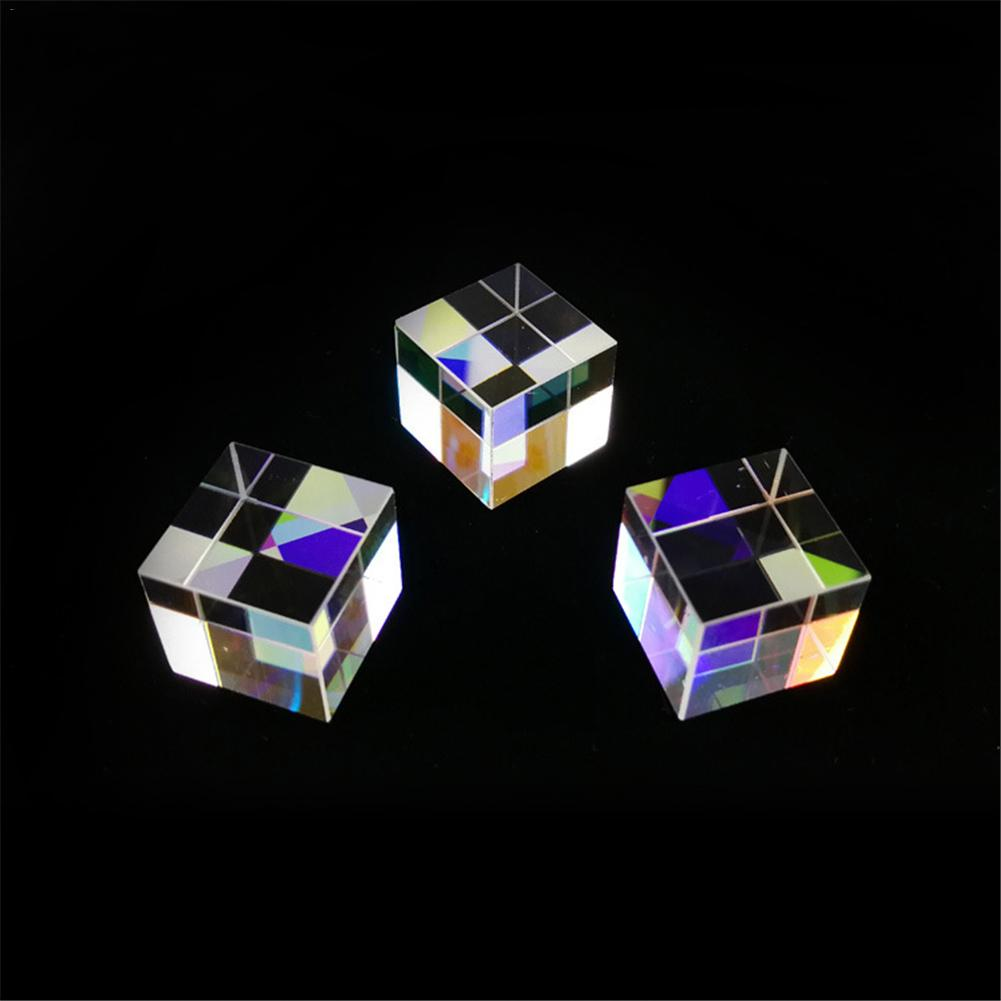 Prism Six-Sided Bright Light Combine Cube Prism Stained Glass Beam Splitting Prism Optical Experiment Instrument