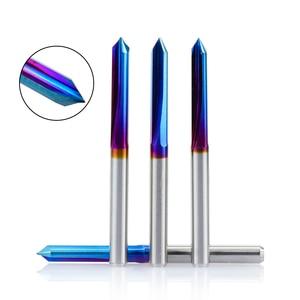 Image 3 - Xcan 10 Stuks 3.175Mm Shank Nano Blauw Gecoat Cnc V Vorm Graveren Bit 2 Fluit Straight V Bit Voor hardhout 20 30 45 60 90 Graden