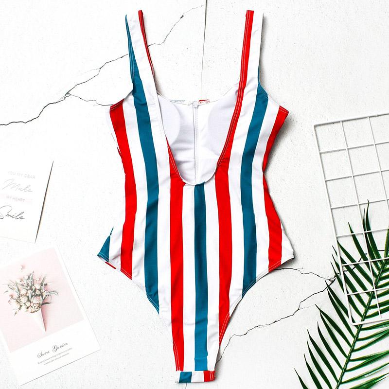 INGAGA, сексуальный цельный купальник на молнии, полосатый купальник, женская одежда для плавания с открытой спиной, монокини, спортивный купа... 43