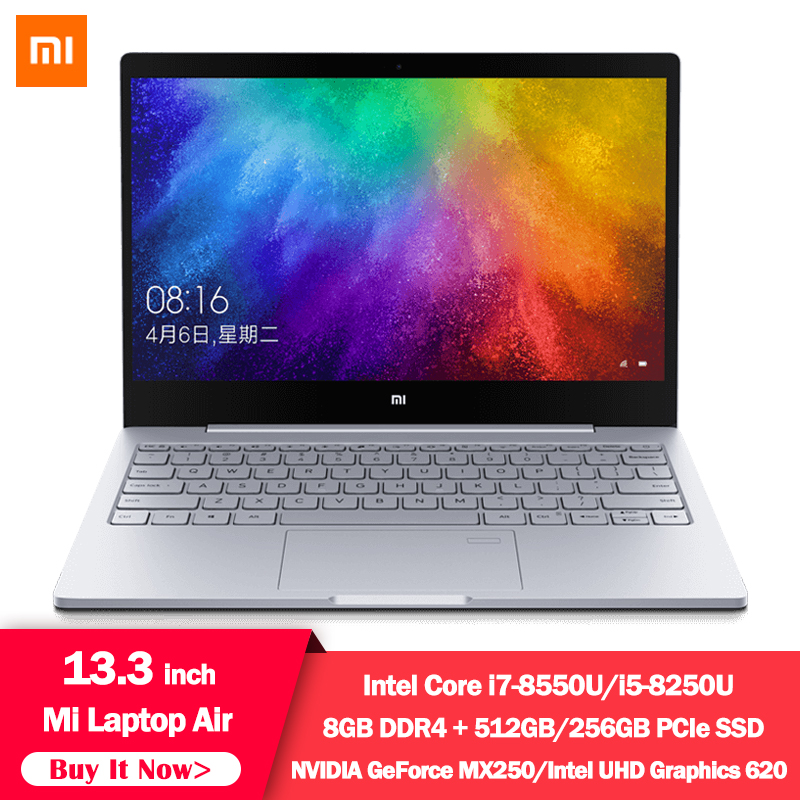 Original 2019 Xiaomi Laptop Air 13.3 Inch Quad Core I5 I7 8G MX250 Ultra Thin Notebook 512G 256G SSD FHD PC For Game Office Work