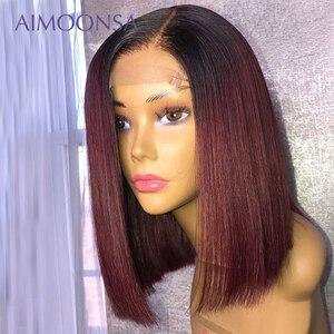 Image 5 - 4x4 fechamento do laço peruca borgonha peruca dianteira do laço 130% colorido ombre perucas de cabelo humano cabelo vermelho em linha reta 1b/99j para as mulheres remy