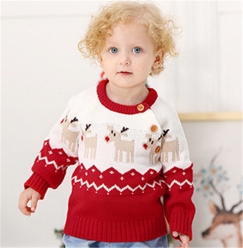 Christmas Sweater Children 0-2Y Christmas Deer Warm Knitted Long Sleeve Sweater Jumper Top Winter Autumn Pullovers Boys Girls