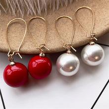 Женские классические серьги SexeMara, круглые простые Подвесные серьги с красным шариком, богемные серьги-подвески с имитацией жемчуга