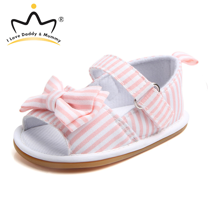 Summer New Toddler Girls Sandals Cute Bowknot Cotton Anti Slip Rubber Bottom Baby Sandals Pink Blue Striped Baby Girl Sandals