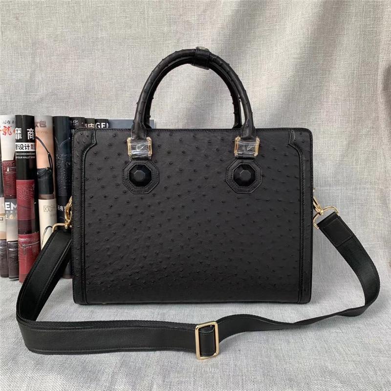 Business Style Authentic Ostrich Skin Men's Passcode Briefcase Large Shoulder Bag Genuine Exotic Leather Male Portfolio Handbag