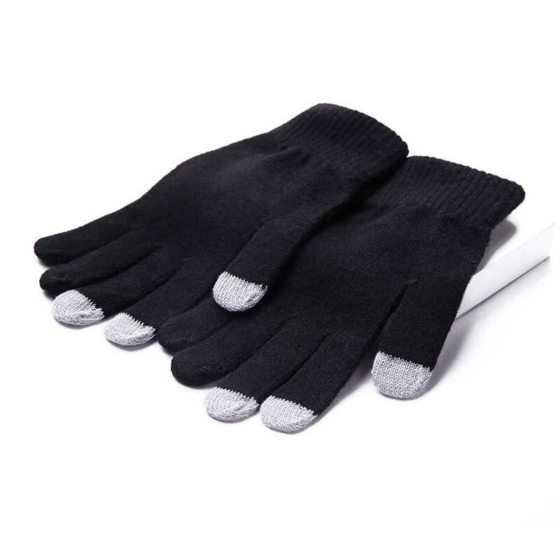 Winter Full Finger Warm Gloves Plus Velvet Knitted Wool Gloves Outdoor Protective Gloves