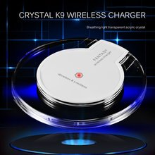 New Wireless Charging Dock Charger Crystal Round Pad With Receiver For Iphone for Samsung