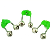 3 Pcs Bite Alarm Fishing Rod Pole Twin Ring Bells w Clip Green