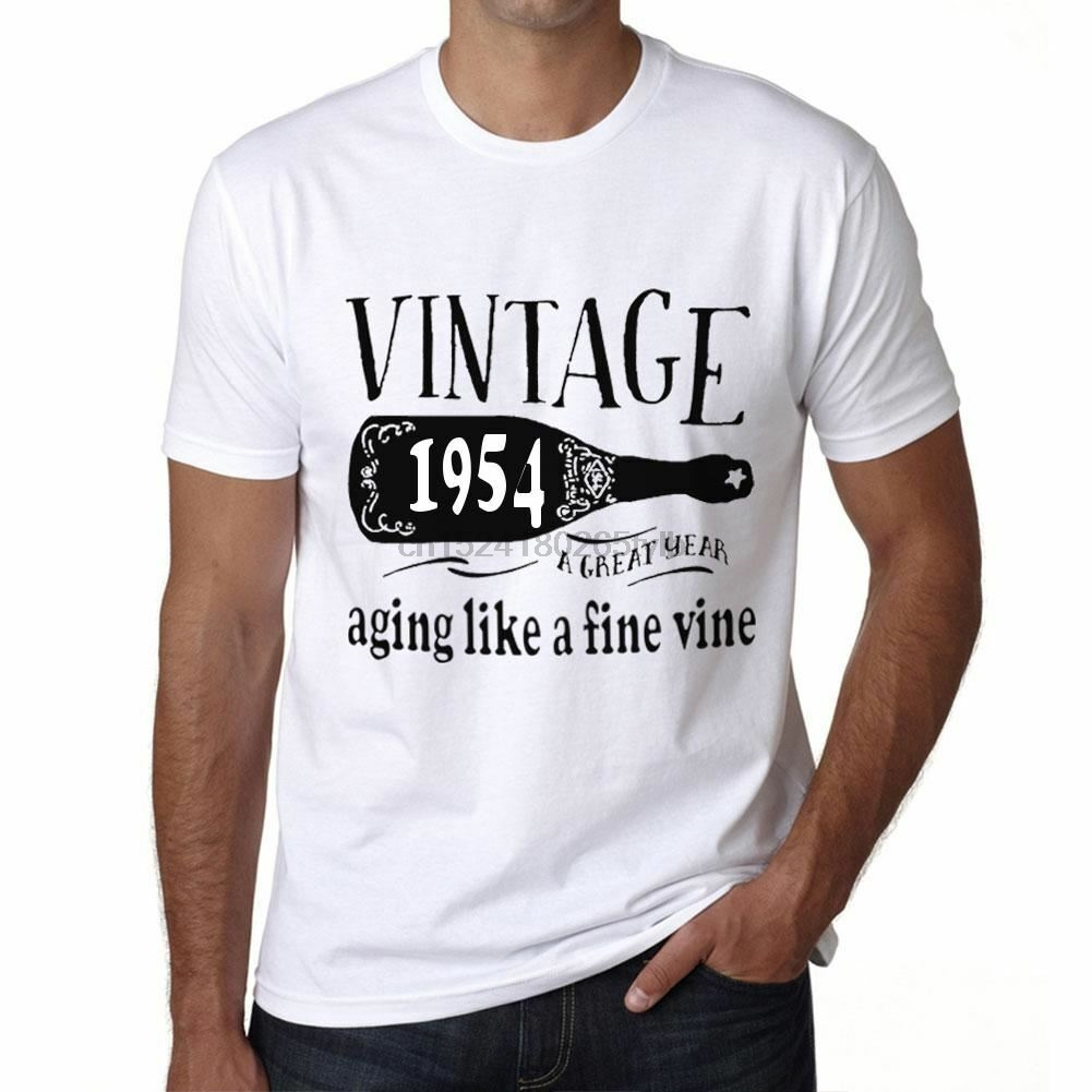 1954 AGING LIKE A Fine Wine Mens White T-Shirt Birthday Gift 00457