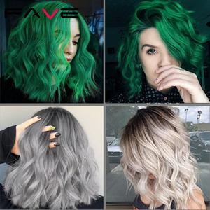 Image 5 - FAVE Short Water Wave Hair Mixed Black Green Heat Resistant Fiber Natural Synthetic Wig For Black/White America Women Cosplay