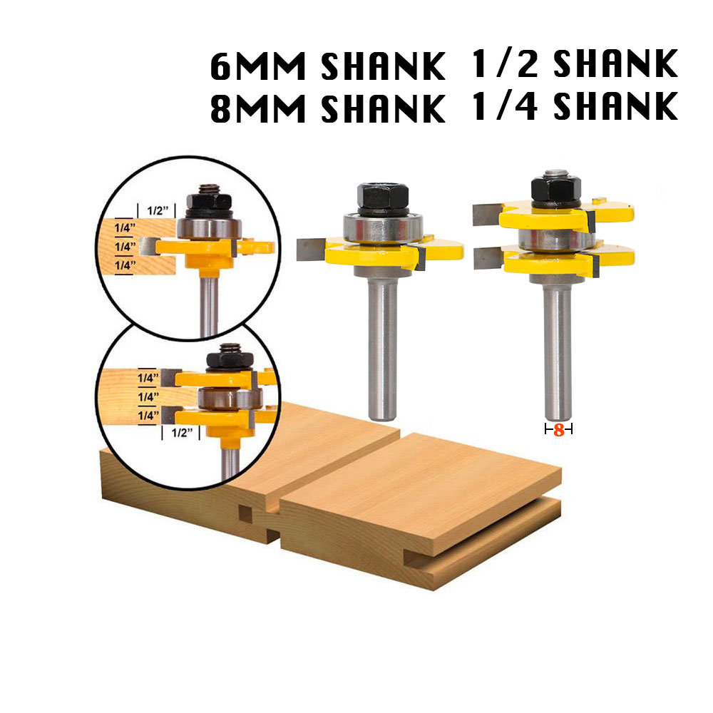 2 Bit Tongue and Groove Router Bit Set Wood Milling Cutter flooring knife