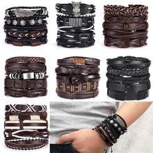 браслеты для девушек женские Мужской многослойный кожаный браслет