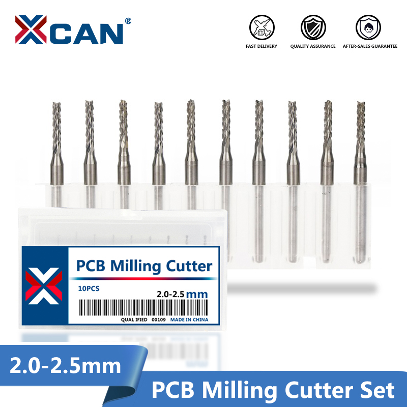 10pcs PCB Milling Cutter 2.0/2.1/2.3/2.4/2.5mm Corn Router Bit Tungsten Carbide Mini CNC Engraving Bit End Mills