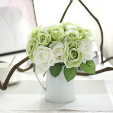 Засушенные цветы украшения 9 глав искусственные шелковые искусственные цветы листьев розы Платья с цветочным принтом для свадьбы, Декорати...