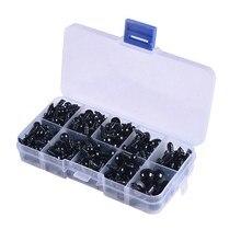 Yeux de poupée en plastique noir, 100 pièces, artisanat rond pour ours en peluche, fait à la main, accessoires de bricolage, 6-12mm
