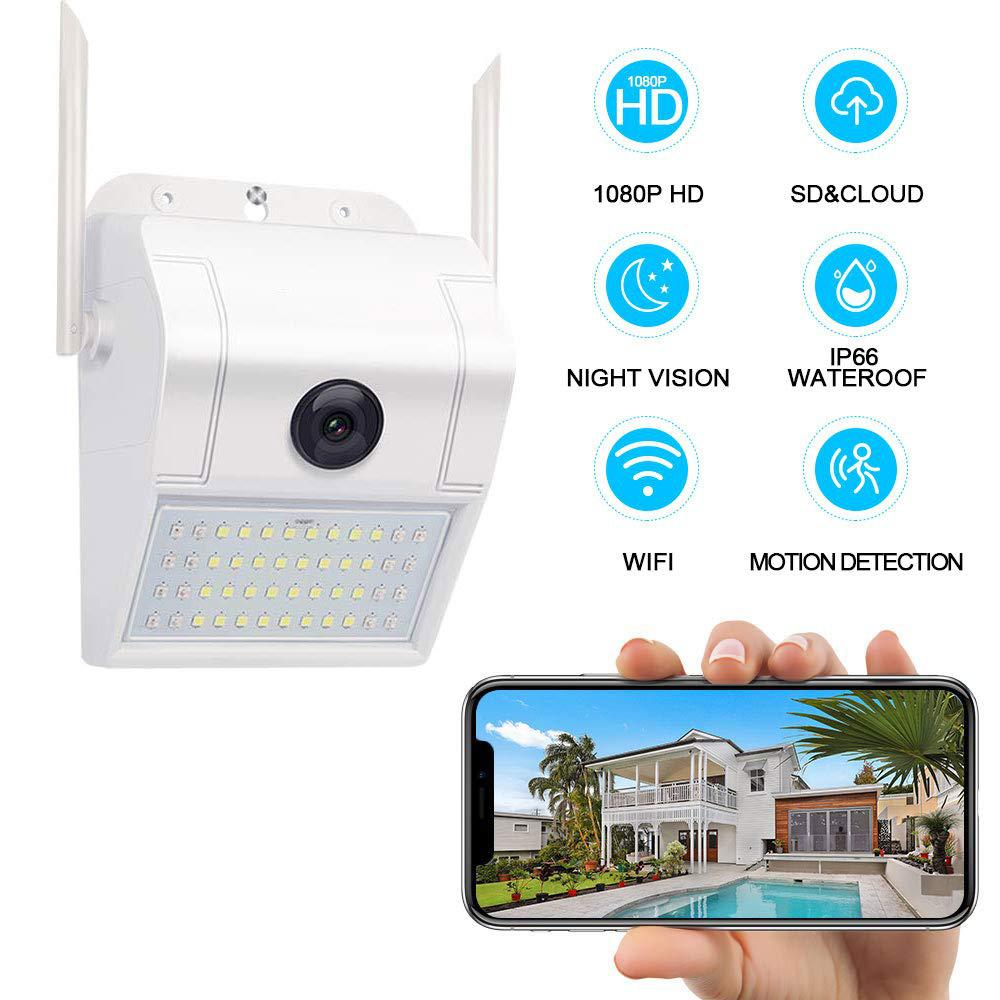 MeterMall Outdoor Home Security Camera 1080P 2.4G WiFi Night Vision Camera with LED Motion Sensor Light IP66 Waterproof Camera