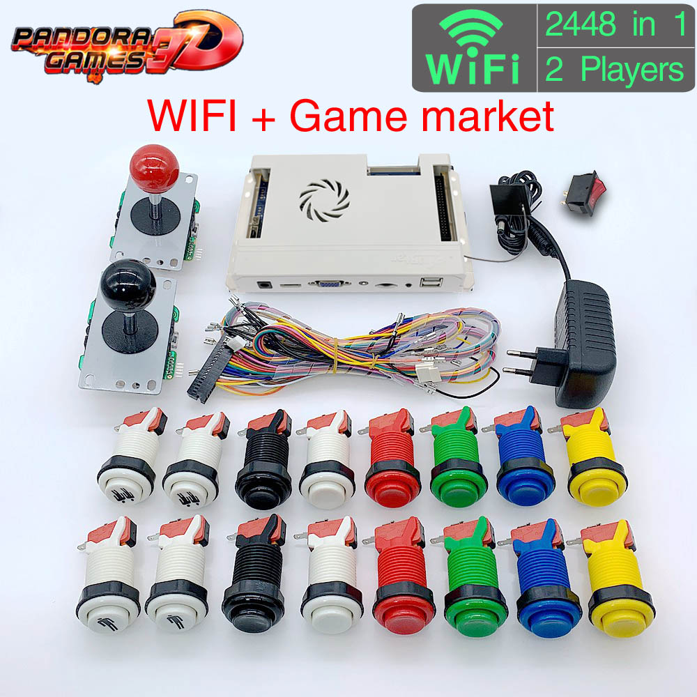 3D Pandora Game Box 2448 In 1 Wifi DIY Arcade Machine Kit Game Board 8 Way Joystick & American Style Push Button For 2 Playes