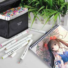 Touchnew 30/80/168 cores esboçar marcadores desenho caneta conjunto ponta dupla escova canetas para bookmark manga escola cor caneta arte suprimentos