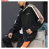 Dropshipping 2019 Autumn Male Baggy Outdoor Sport Tops Streetwear Patchwork Jacket Japanese Fashion Casual High Collar Coats