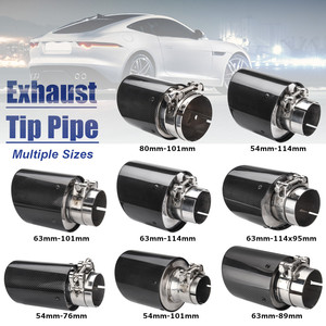 Image 1 - Universal 2inch 2.5inch 3inch  Glossy Black Carbon Fiber Car Exhaust Rear Tip Pipe Muffler Multiple Sizes