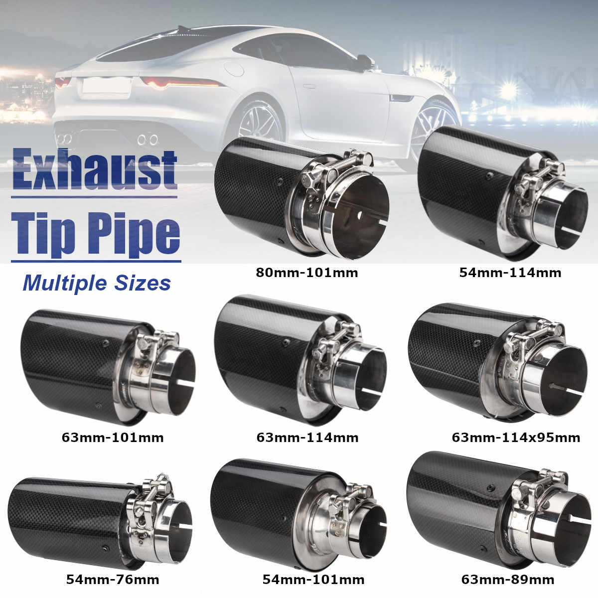 universal 2inch 2 5inch 3inch glossy black carbon fiber car exhaust rear tip pipe muffler multiple sizes