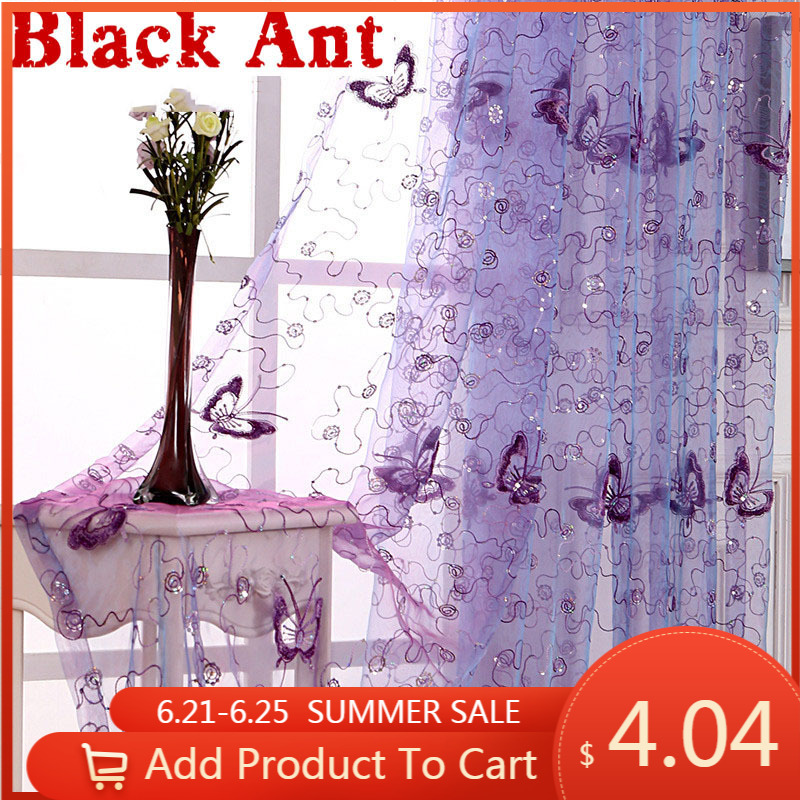French Romantic Shining Butterfly Embroidered Voile Curtain Panel Window Home Textile Bedroom Curtains Tulle Cortinas X-WP34420
