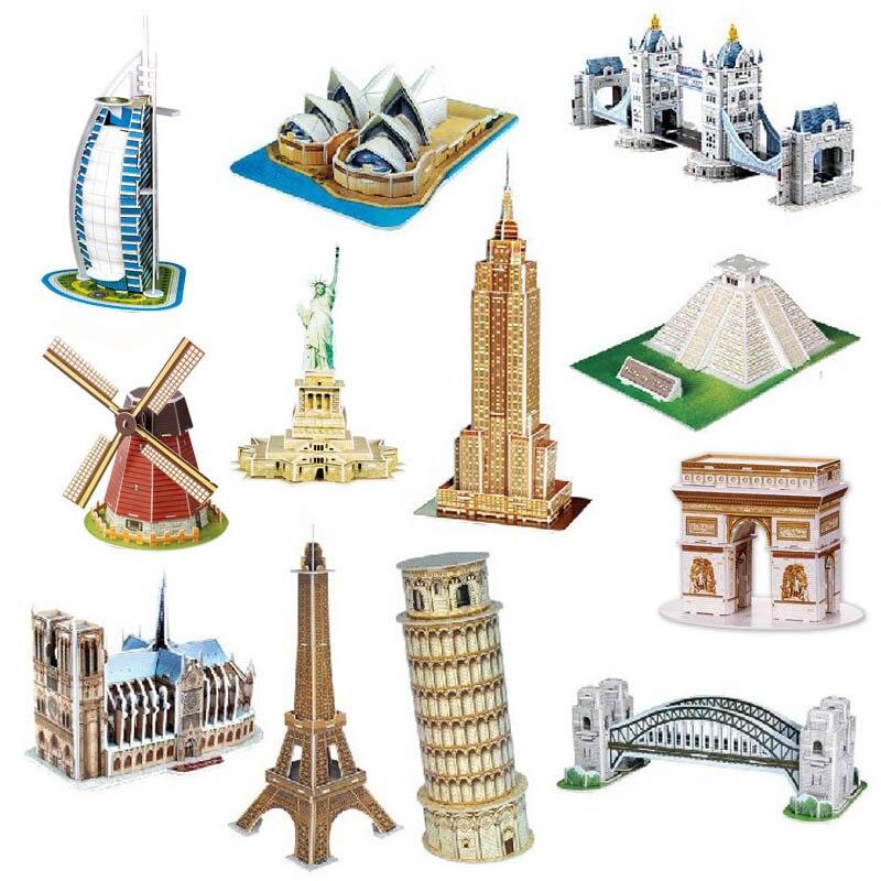 3D головоломка Бумажная модель игры слово знаменитые здания архитектура головоломка DIY головоломка игрушка подарок для детей рождественски...