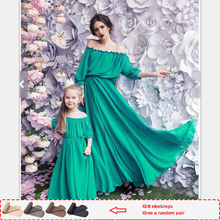 2019 Fashion mother and daughter clothes Dresses Solid mommy me Sets mom dress Half girls