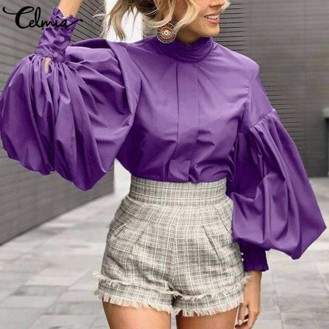 Celmia Fashion Big Lantern Sleeve Blouses Womens Elegant Office Shirts Stand Collar Work Solid Vintage Tops Casual Blusas 5XL