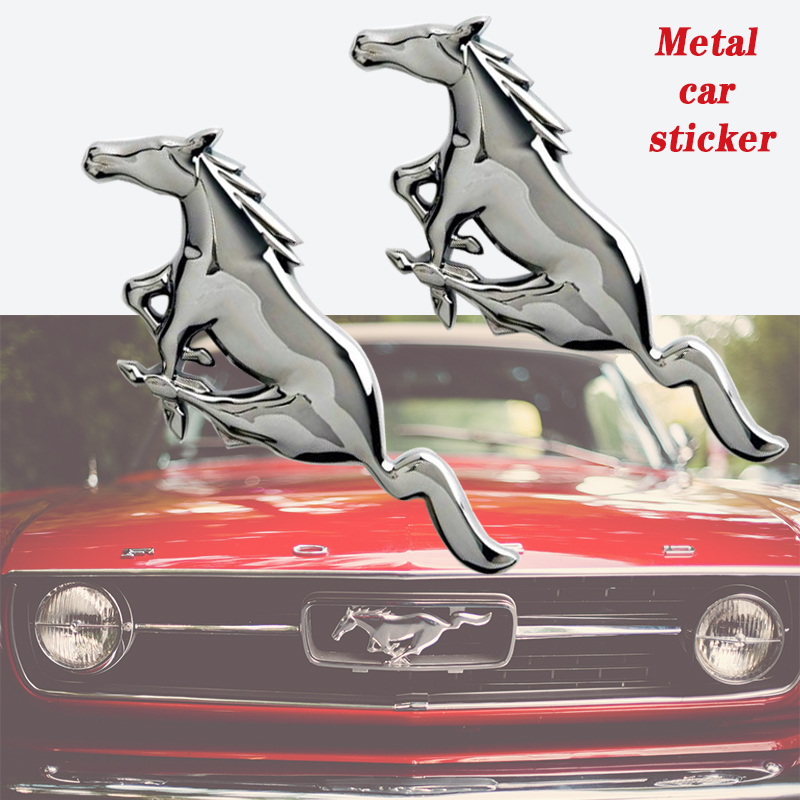3D Metal Stereo Car Stickers Mustang Sticker Emblem Badge Car Decoration Body Car Styling Accessories For Ford Mustang Shelby GT