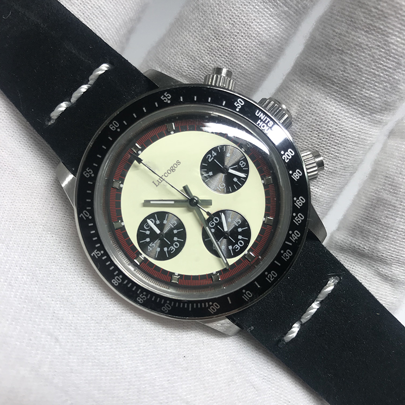 luxury brand watch day quartz tona watches chronograph function works stainless steel case leather strap AAA quality